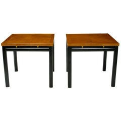Pair of Michael Taylor Bleached Mahogany and Black Lacquer End Tables