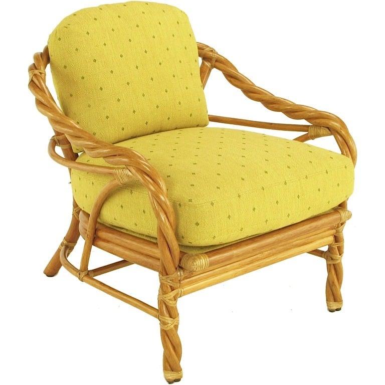McGuire Twisted Rattan U0026 Rawhide Lounge Chair 3