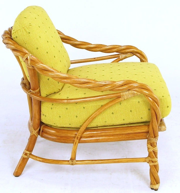 McGuire Twisted Rattan and Rawhide Lounge Chair at 1stdibs