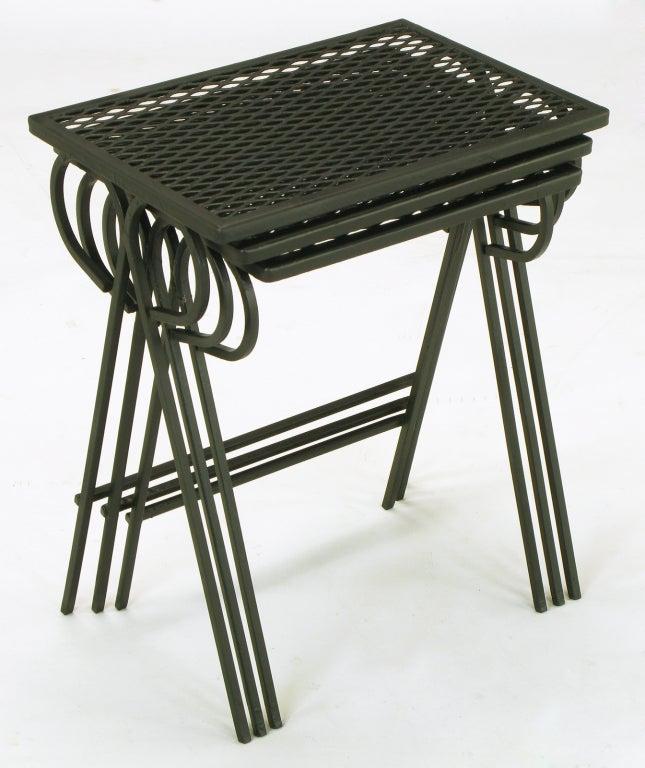 Set three black wrought iron nesting tables attr