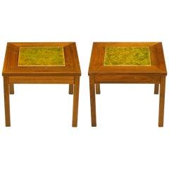Pair John Keal Walnut & Tile Side Tables For Brown-Saltman