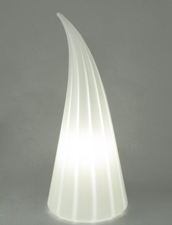 Italian Murano Glass White and Clear Striped Art Glass Lamp For Sale