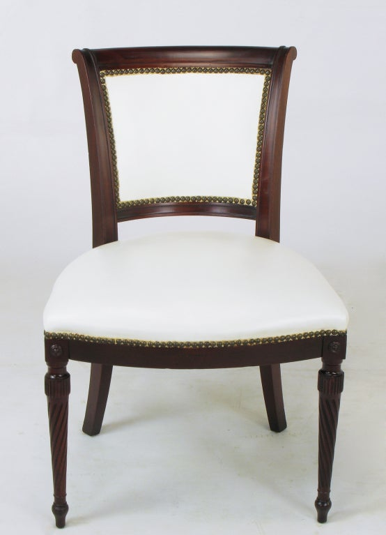 Six 1940s Louis XVI Style Cherry And White Leather Dining Chairs At 1stdibs