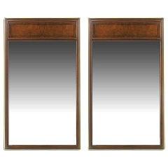 Pair Baker Walnut & Brass Burled Trumeau Mirrors