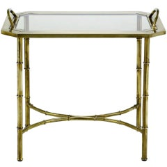 Italian Stylized Brass Bamboo Tray Table