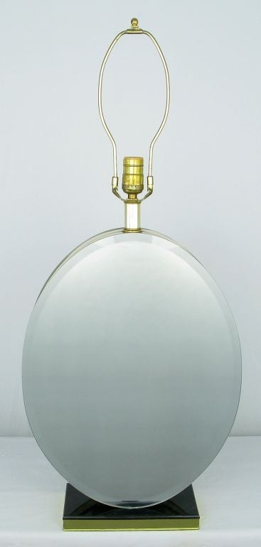 American Pair of Oval Beveled Mirror Table Lamps For Sale