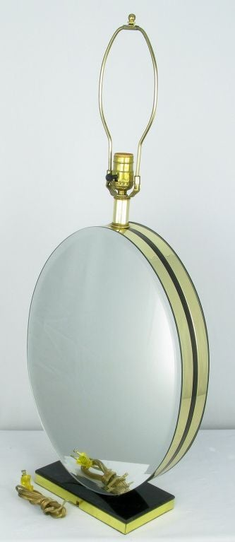Mid-20th Century Pair of Oval Beveled Mirror Table Lamps For Sale
