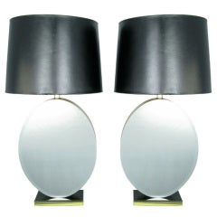 Pair of Oval Beveled Mirror Table Lamps