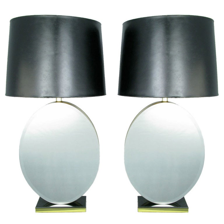 Pair of Oval Beveled Mirror Table Lamps For Sale