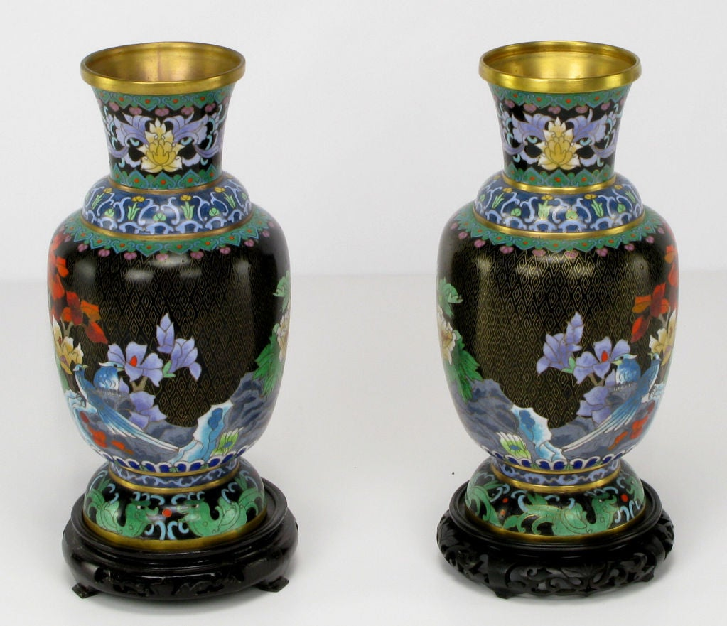 Pair Colorful Floral Cloisonne Vases On Carved Bases For