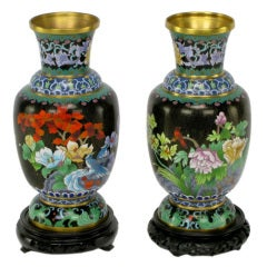 Pair Colorful Floral Cloisonne Vases On Carved Bases