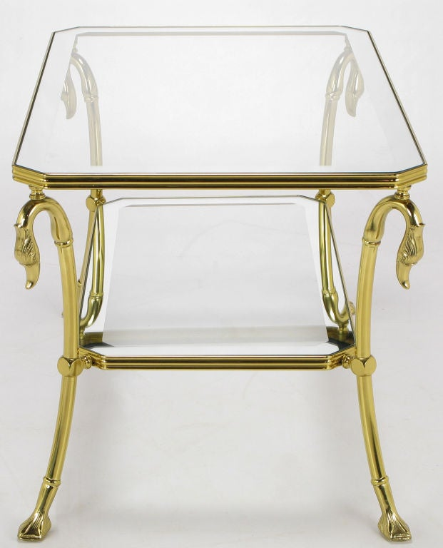 Italian Brass Two-Tier End Table with Swan and Webbed Foot Detail For Sale