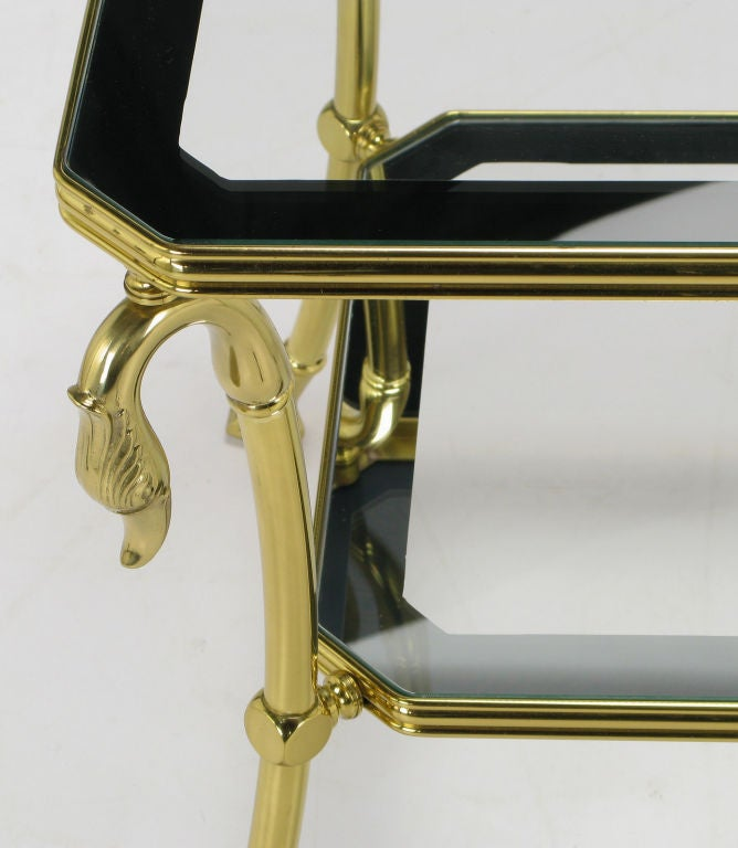 Brass Two-Tier End Table with Swan and Webbed Foot Detail For Sale 1