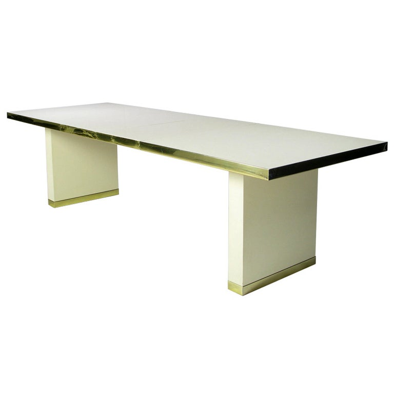Signed Pierre Cardin Ivory and Gold Dining Table at 1stdibs