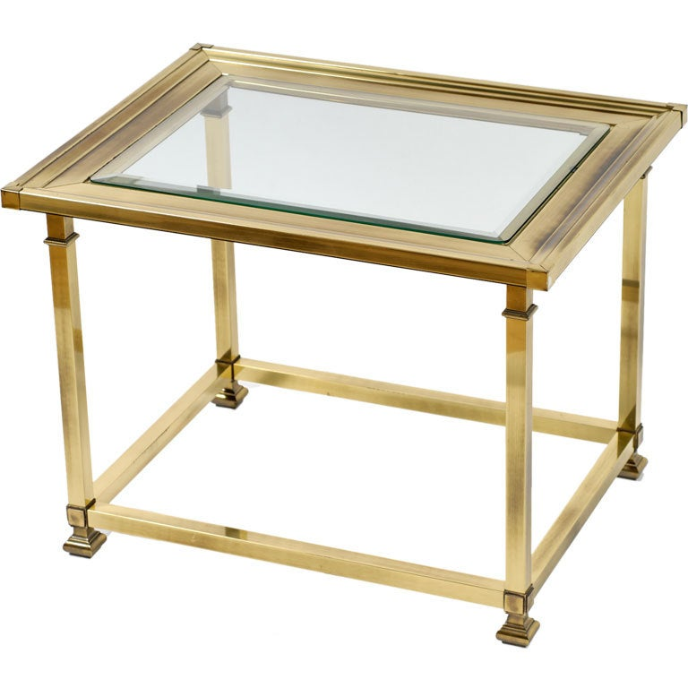 mastercraft patinated brass and glass end table at 1stdibs
