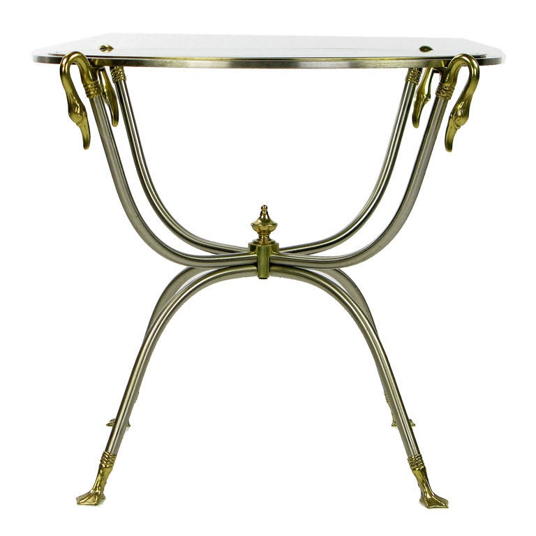 Italian Nickel and Brass End Table With Swan Motif In Good Condition For Sale In Chicago, IL