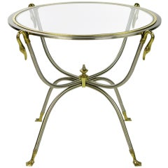 Italian Nickel & Brass End Table With Swan Motif