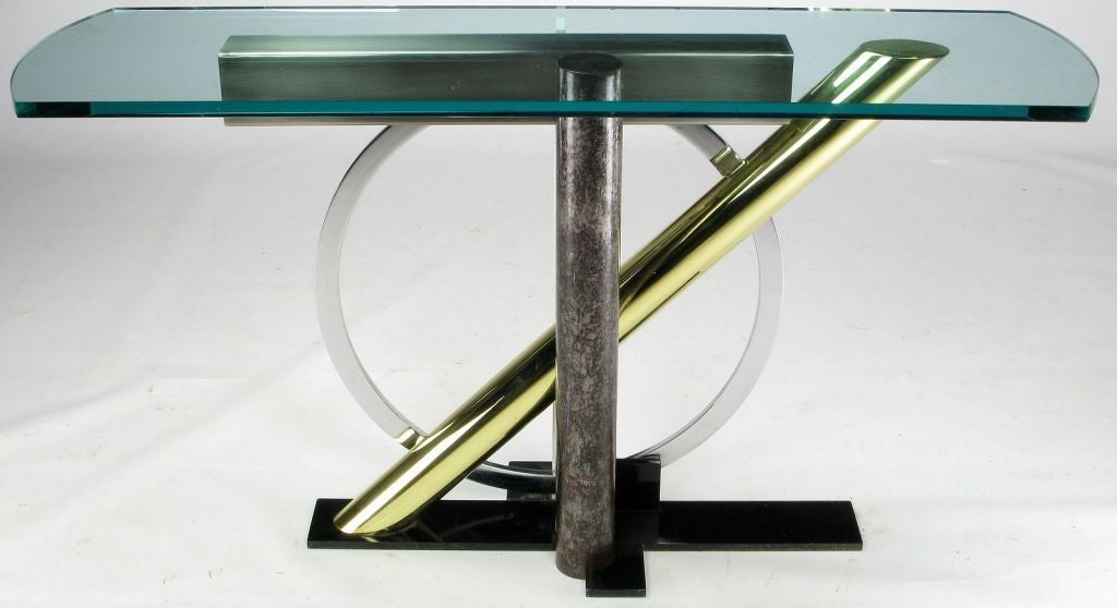 Multi-metal architectural console table with 5/8
