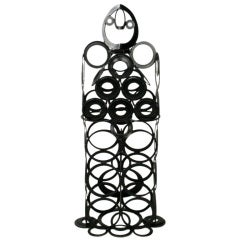 4' Metal Sculpture Of Man - Welded Steel Rings