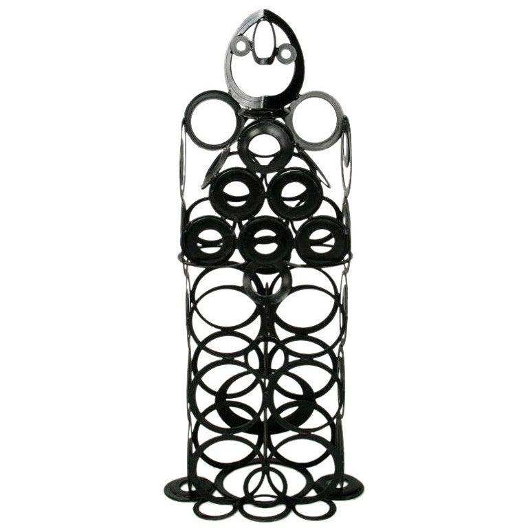 4' Metal Sculpture Of Man - Welded Steel Rings