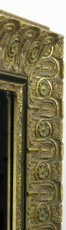 American Egyptian Inspired Carved Wood and Gilt Gesso Mirror For Sale