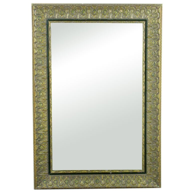 Egyptian Inspired Carved Wood & Gilt Gesso Mirror