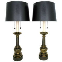 Impressive Pair Of Neoclassical Brass Table Lamps By Stiffel