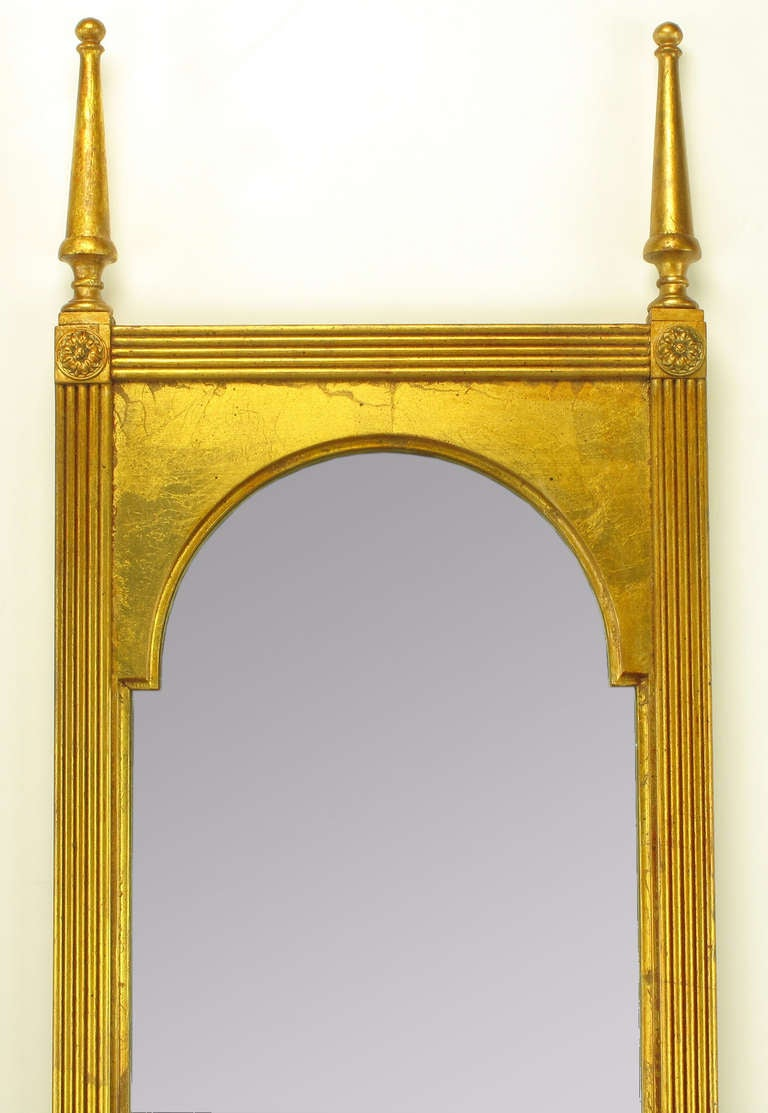 Pair of Giltwood Double Spire Palladian Arch Mirrors In Excellent Condition For Sale In Chicago, IL