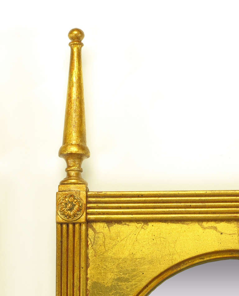 Mid-20th Century Pair of Giltwood Double Spire Palladian Arch Mirrors For Sale