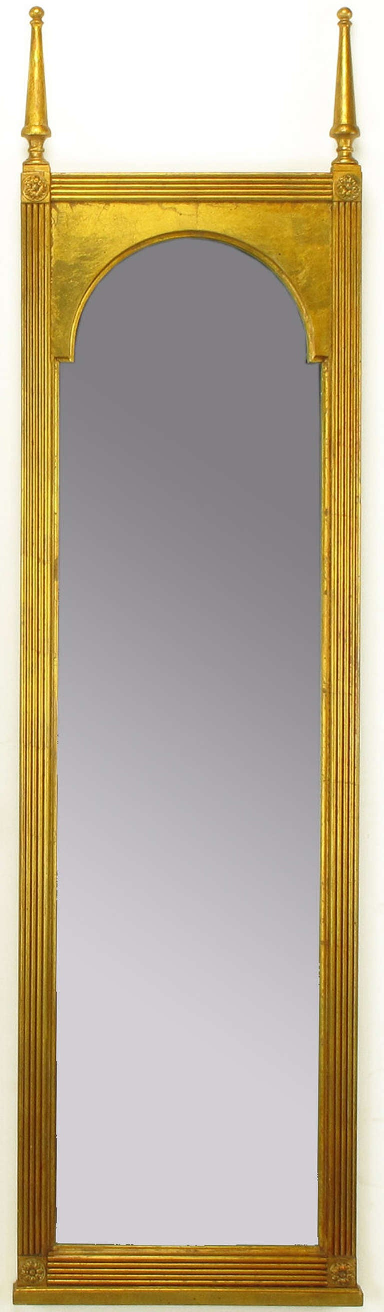 American Pair of Giltwood Double Spire Palladian Arch Mirrors For Sale