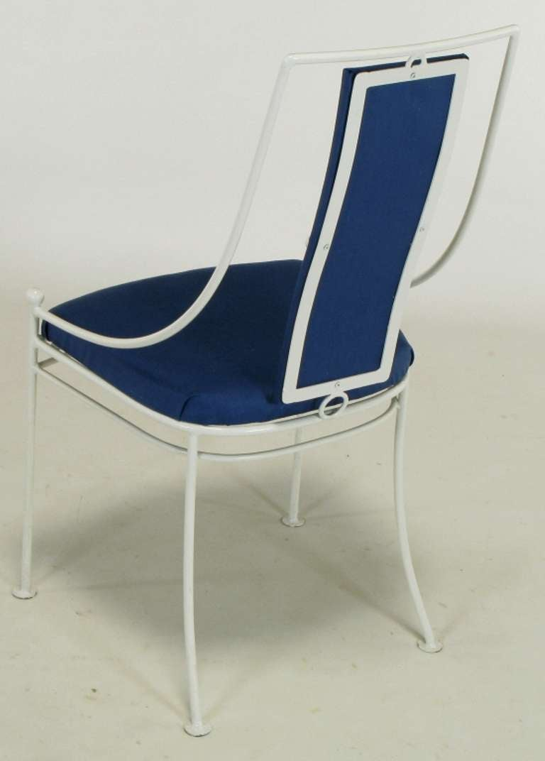 Six White Lacquered Iron And Blue Linen Dining Chairs At