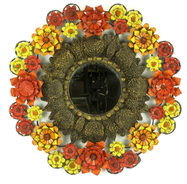 Gesso Artes De Mexico Mirror with Red, Yellow and Orange Tole Flower Surround For Sale