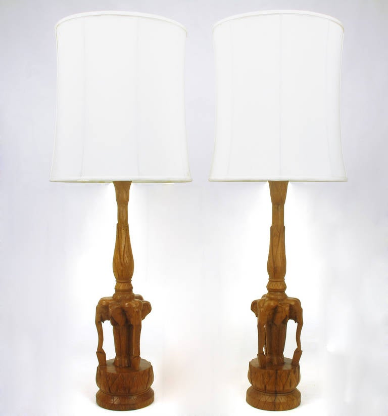Pair Of Expertly Carved, One Of A Kind, Trio Of Elephants Table Lamps.
