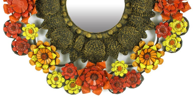 Mexican Artes De Mexico Mirror with Red, Yellow and Orange Tole Flower Surround For Sale