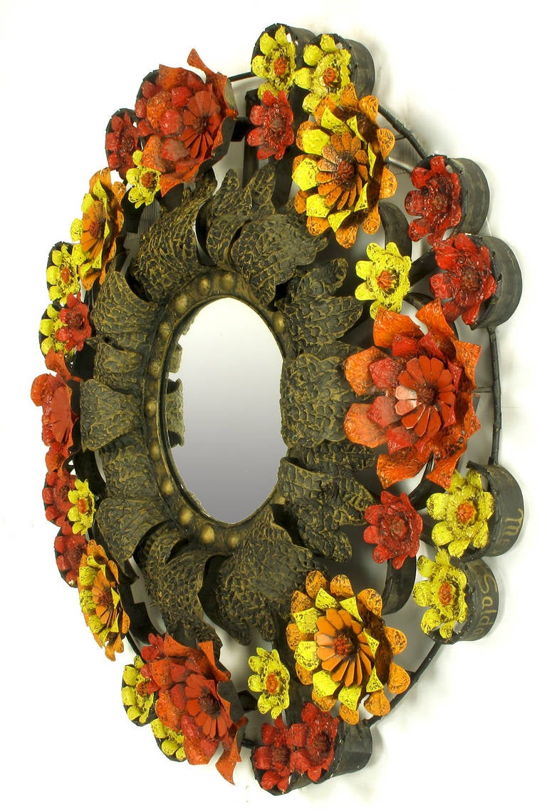 Mid-20th Century Artes De Mexico Mirror with Red, Yellow and Orange Tole Flower Surround For Sale