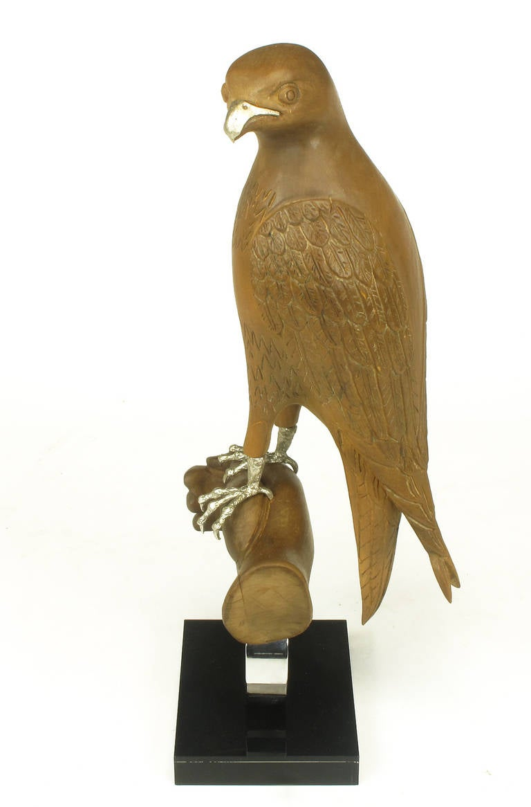 American Carved Wood and Silver Sculpture of Raptor Bird on Falconer's Hand For Sale