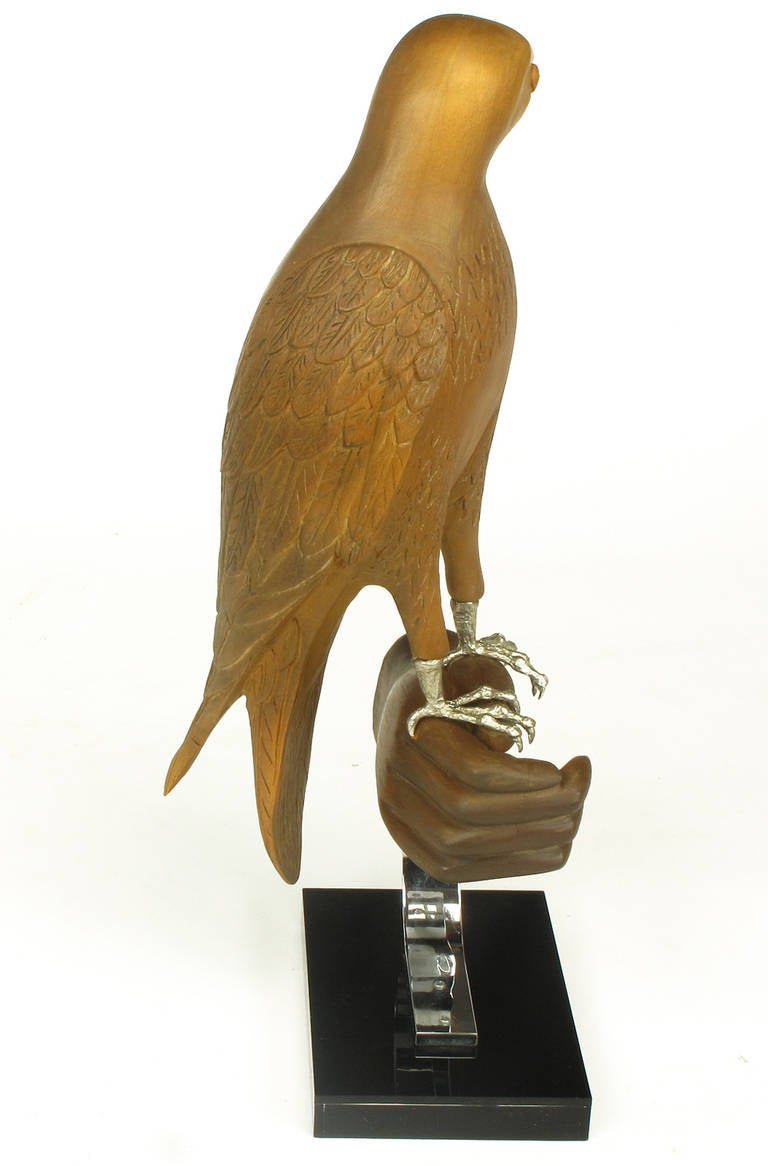 Carved Wood and Silver Sculpture of Raptor Bird on Falconer's Hand In Excellent Condition For Sale In Chicago, IL