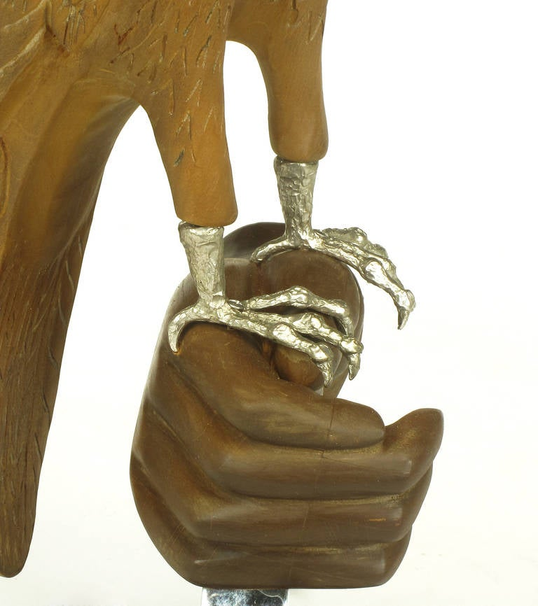 Late 20th Century Carved Wood and Silver Sculpture of Raptor Bird on Falconer's Hand For Sale