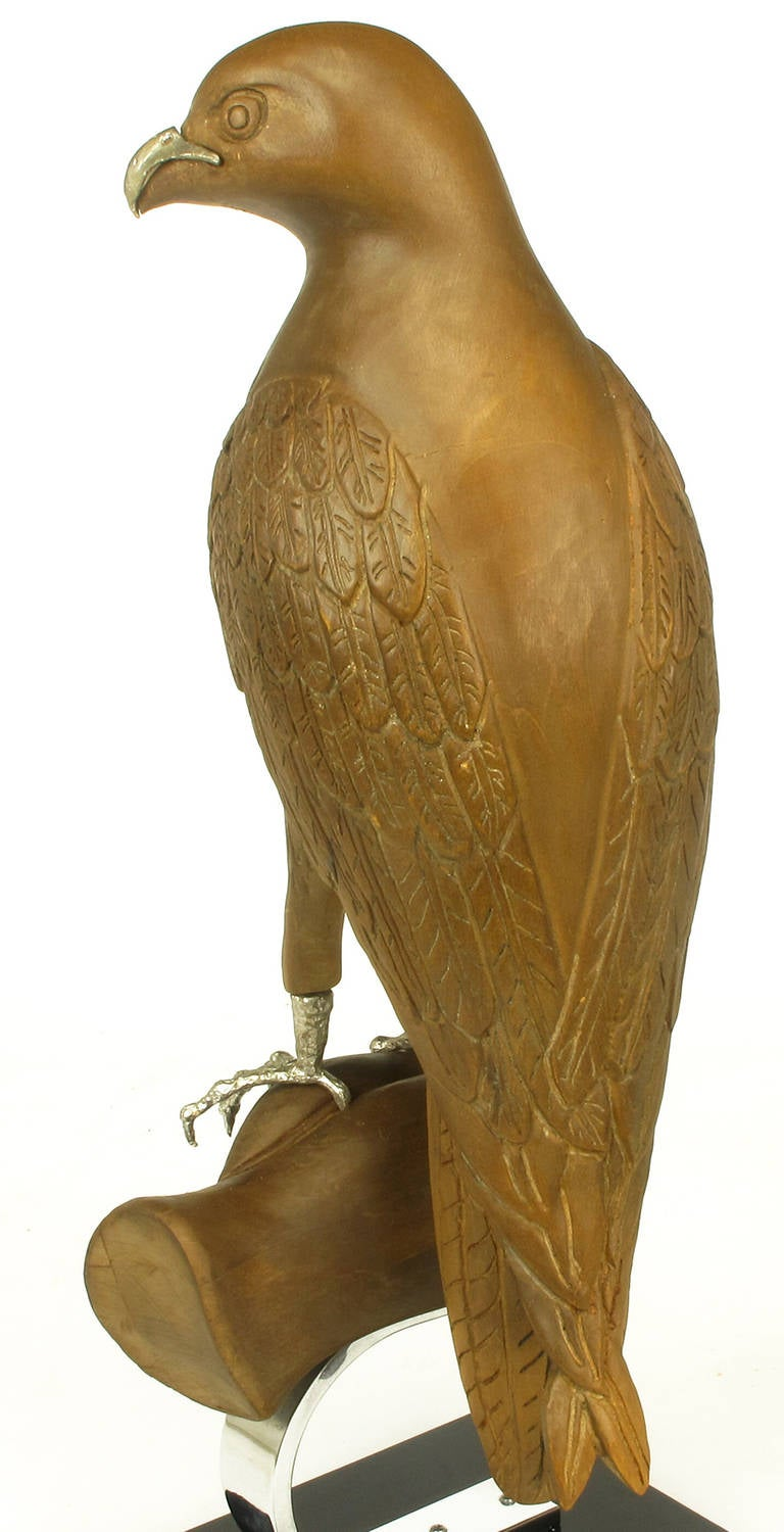 Carved Wood and Silver Sculpture of Raptor Bird on Falconer's Hand For Sale 2