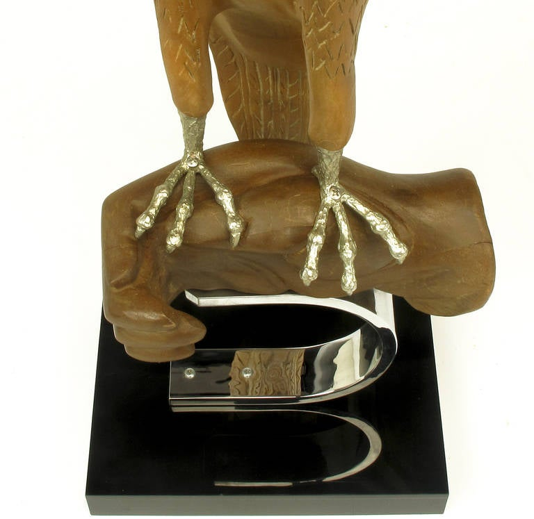 Carved Wood and Silver Sculpture of Raptor Bird on Falconer's Hand For Sale 3