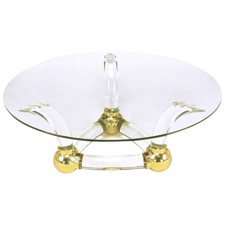 Round Coffee Table With Thick Curved Lucite and Brass Ball Base at 1stdibs