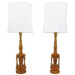 "Pair 47"" Tall Hand Carved Hardwood ""Trio Of Elephants"" Table Lamps"