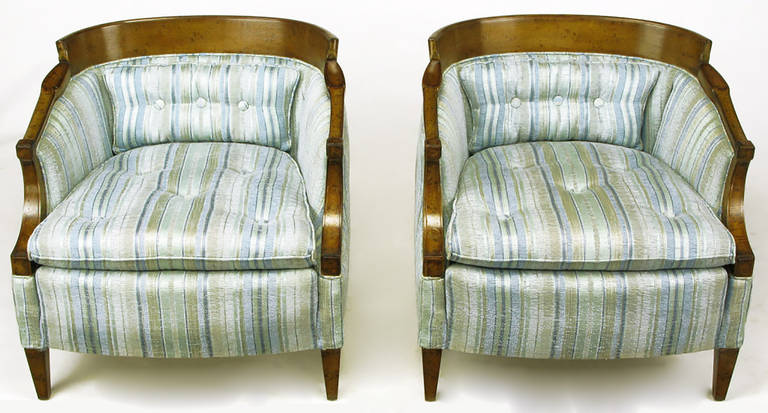 Pair of Oxford Kent lounge chairs in a burled walnut curved back frame with the original aqua marine and taupe striped silk upholstery. Burled walnut tapered legs and re-stuffed button tufted seat and lumbar cushion. Oxford Kent was a combination of
