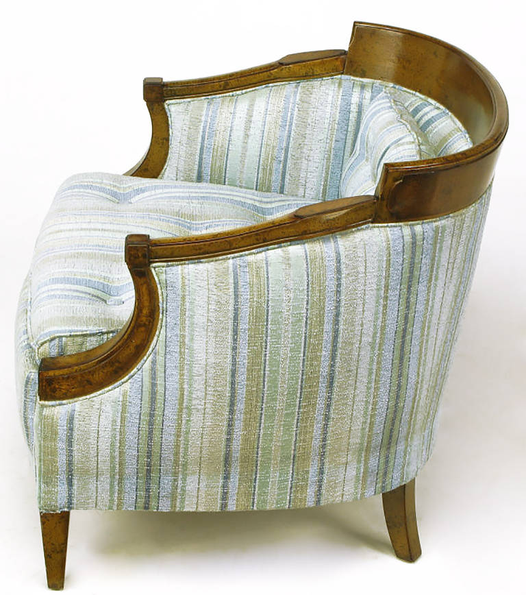 Pair of Oxford Kent Burled Walnut and Aqua Striped Silk Lounge Chairs For Sale 1