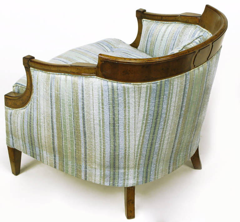 Pair of Oxford Kent Burled Walnut and Aqua Striped Silk Lounge Chairs For Sale 2