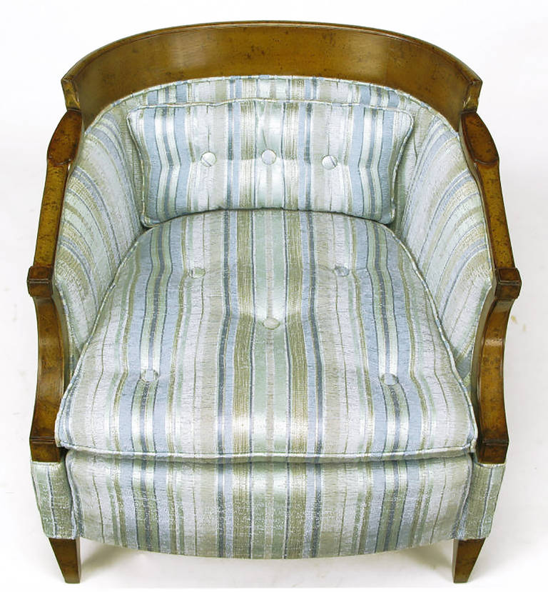 Mid-20th Century Pair of Oxford Kent Burled Walnut and Aqua Striped Silk Lounge Chairs For Sale