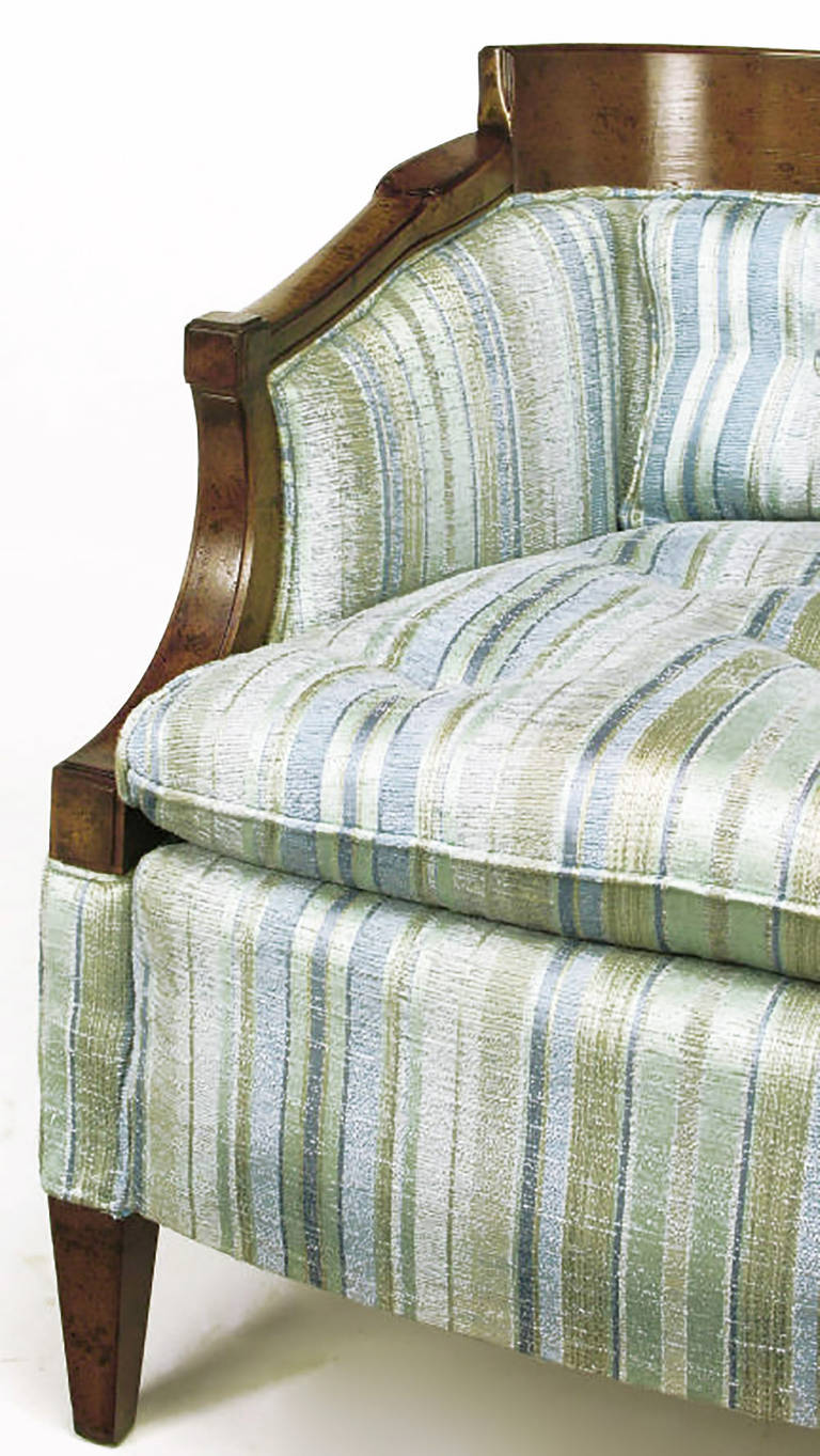 Pair of Oxford Kent Burled Walnut and Aqua Striped Silk Lounge Chairs For Sale 4