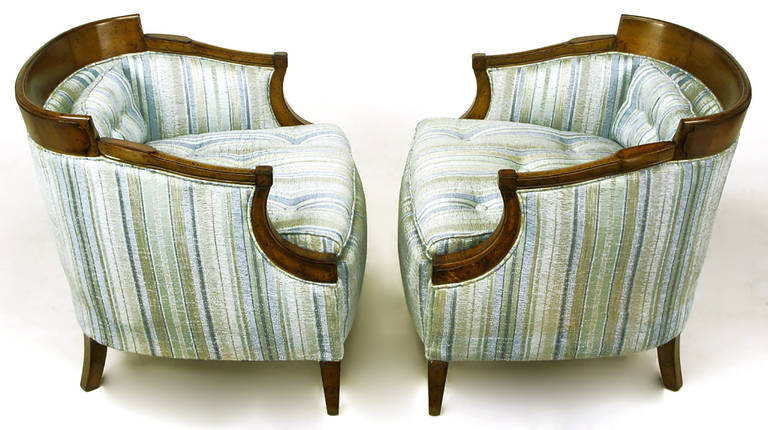 Pair of Oxford Kent Burled Walnut and Aqua Striped Silk Lounge Chairs In Good Condition For Sale In Chicago, IL