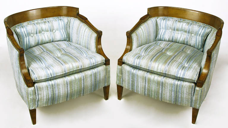 American Pair of Oxford Kent Burled Walnut and Aqua Striped Silk Lounge Chairs For Sale