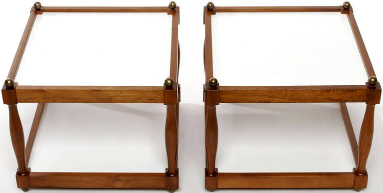American Pair of Reversible Walnut, Brass and Micarta Low Coffee Tables For Sale